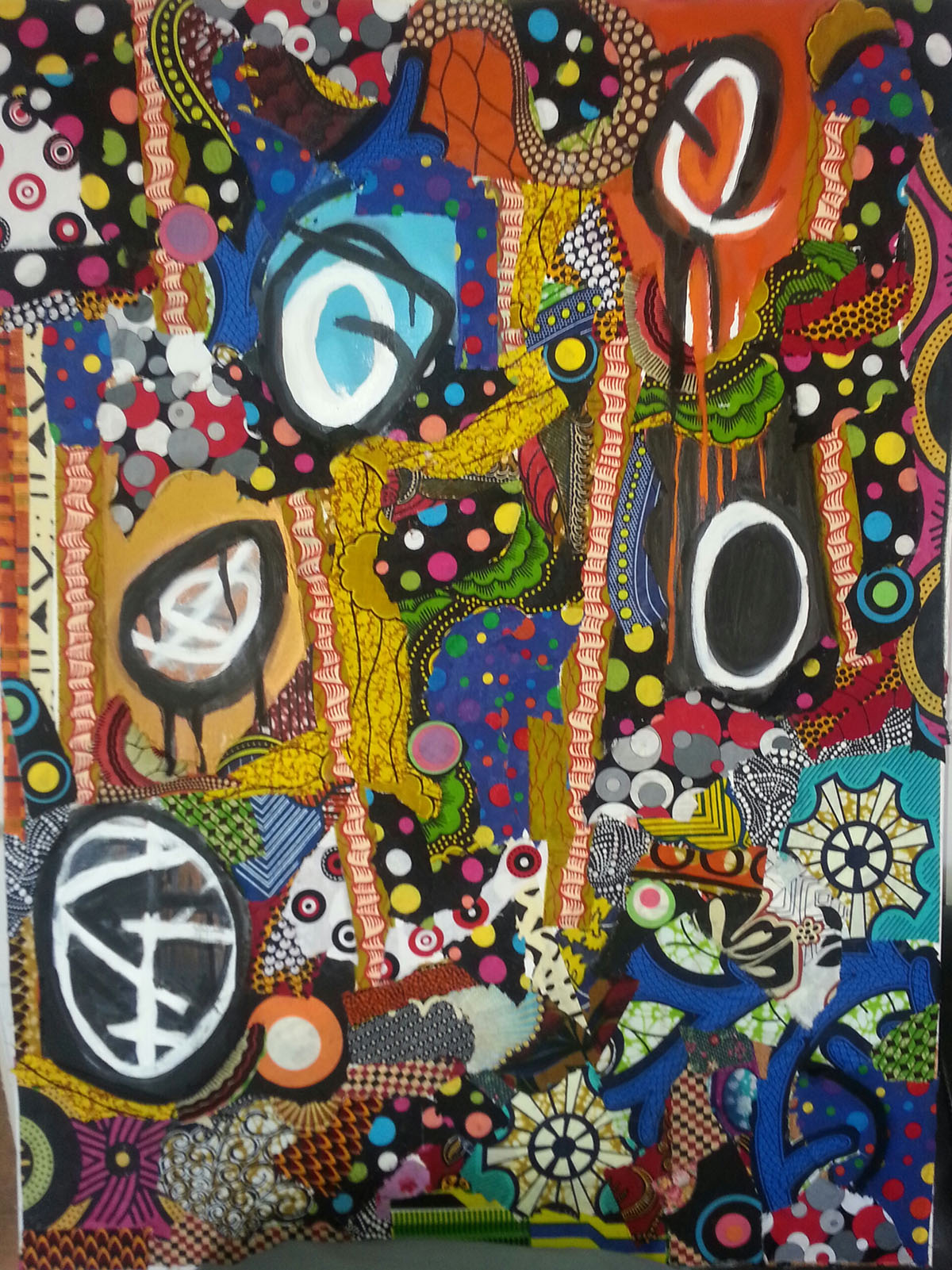 Danny Simmons - 'Lifted' 36 x 48 Textile and Oil on Canvas 2014