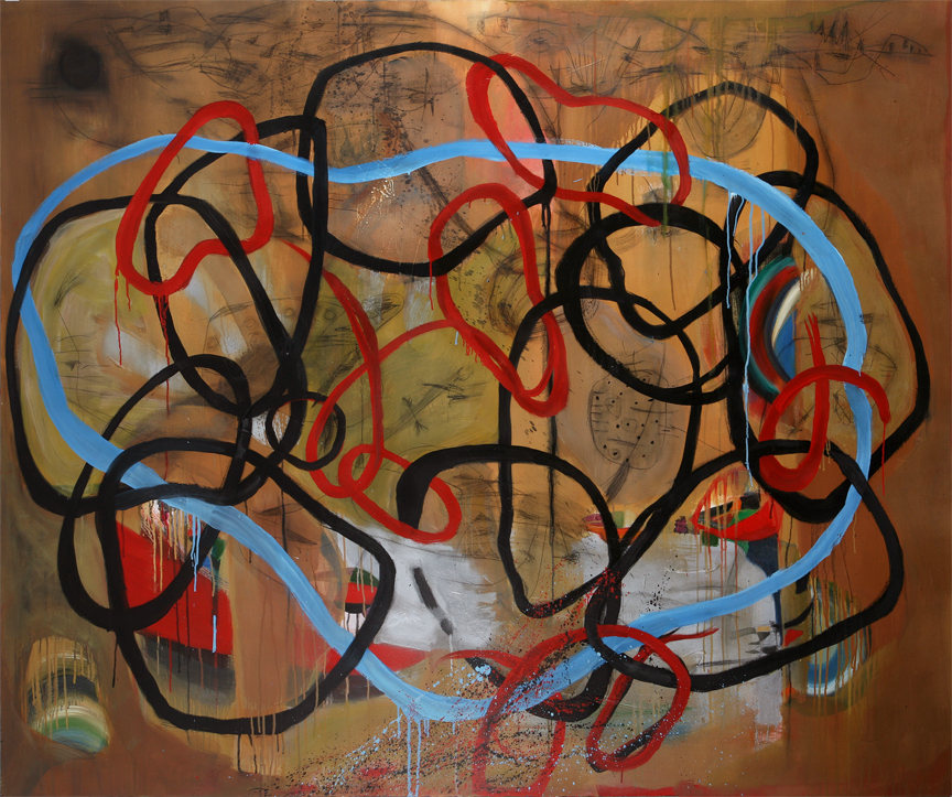 Danny Simmons - 'Miles To Go Before I Sleep' 60 x 72 Oil on Canvas 2012