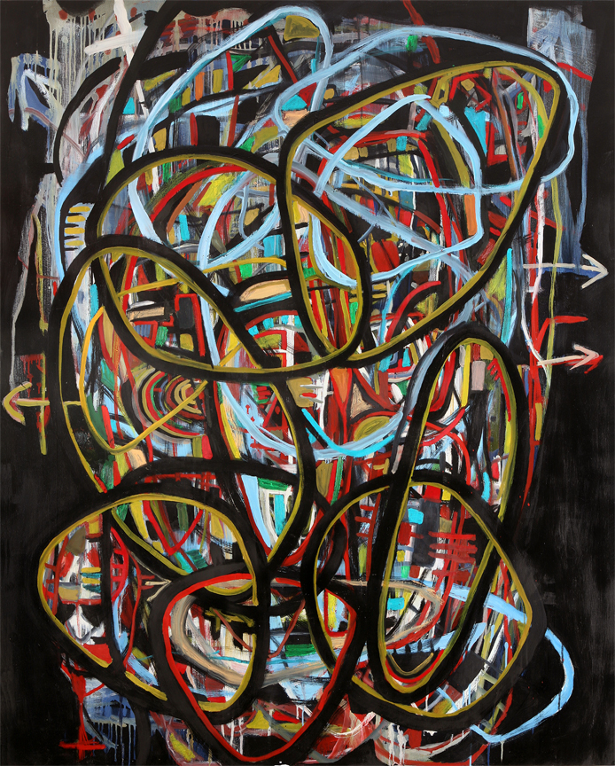 Danny Simmons - 'A Confluence of Grievances' 48 x 60 Oil on Canvas 2012