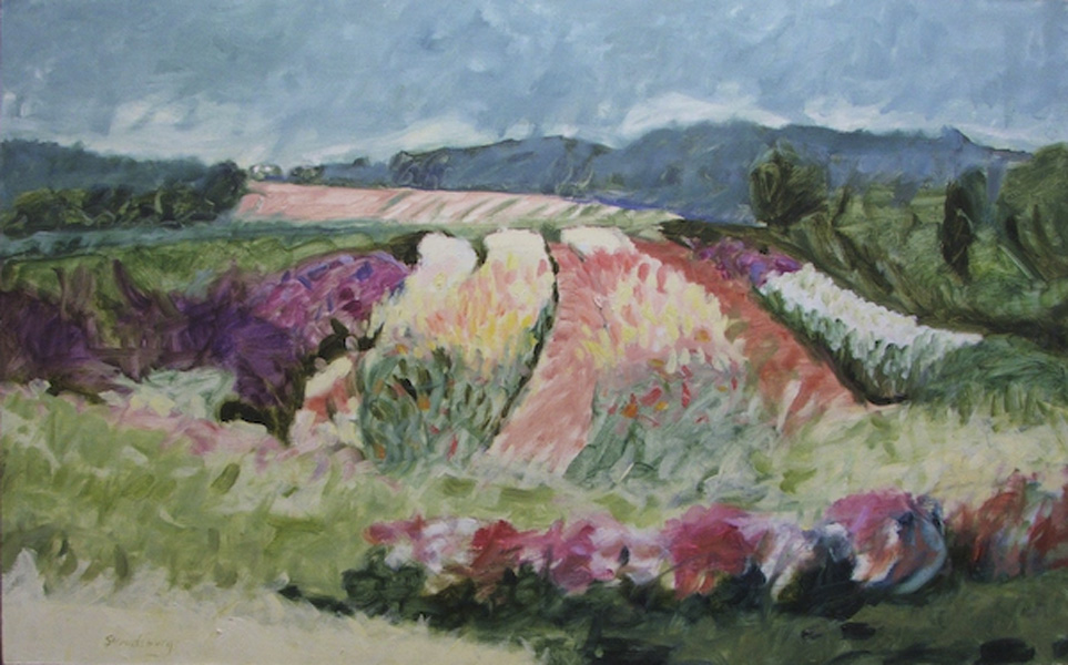 *** SOLD *** North Fork Snapdragons 30x48 oil linen