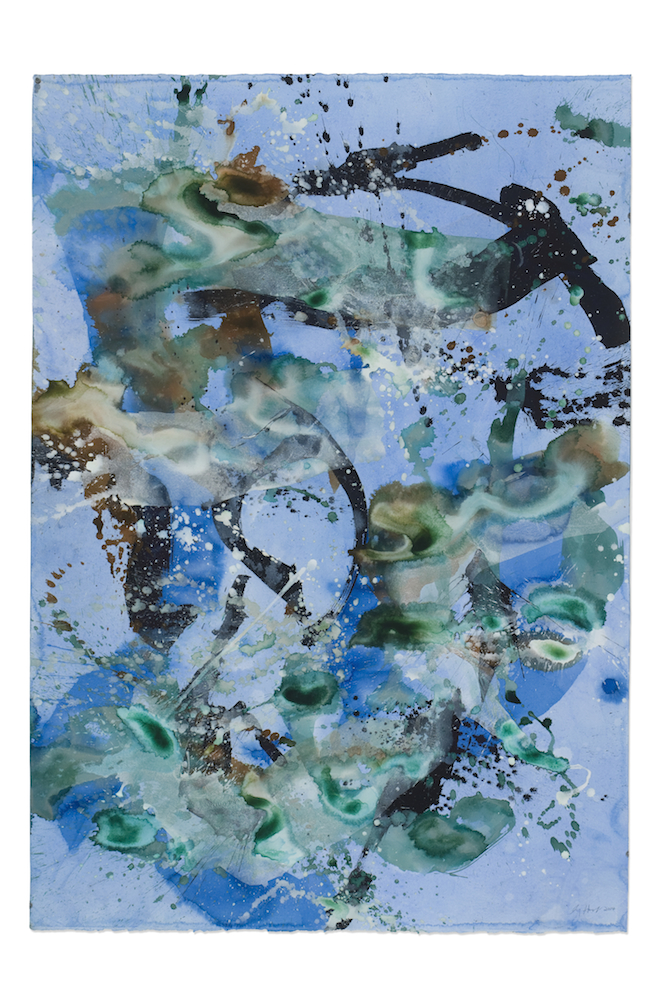 *SOLD* - Blue Lotus - Water Color Ink Acrylic on Paper - 51x36