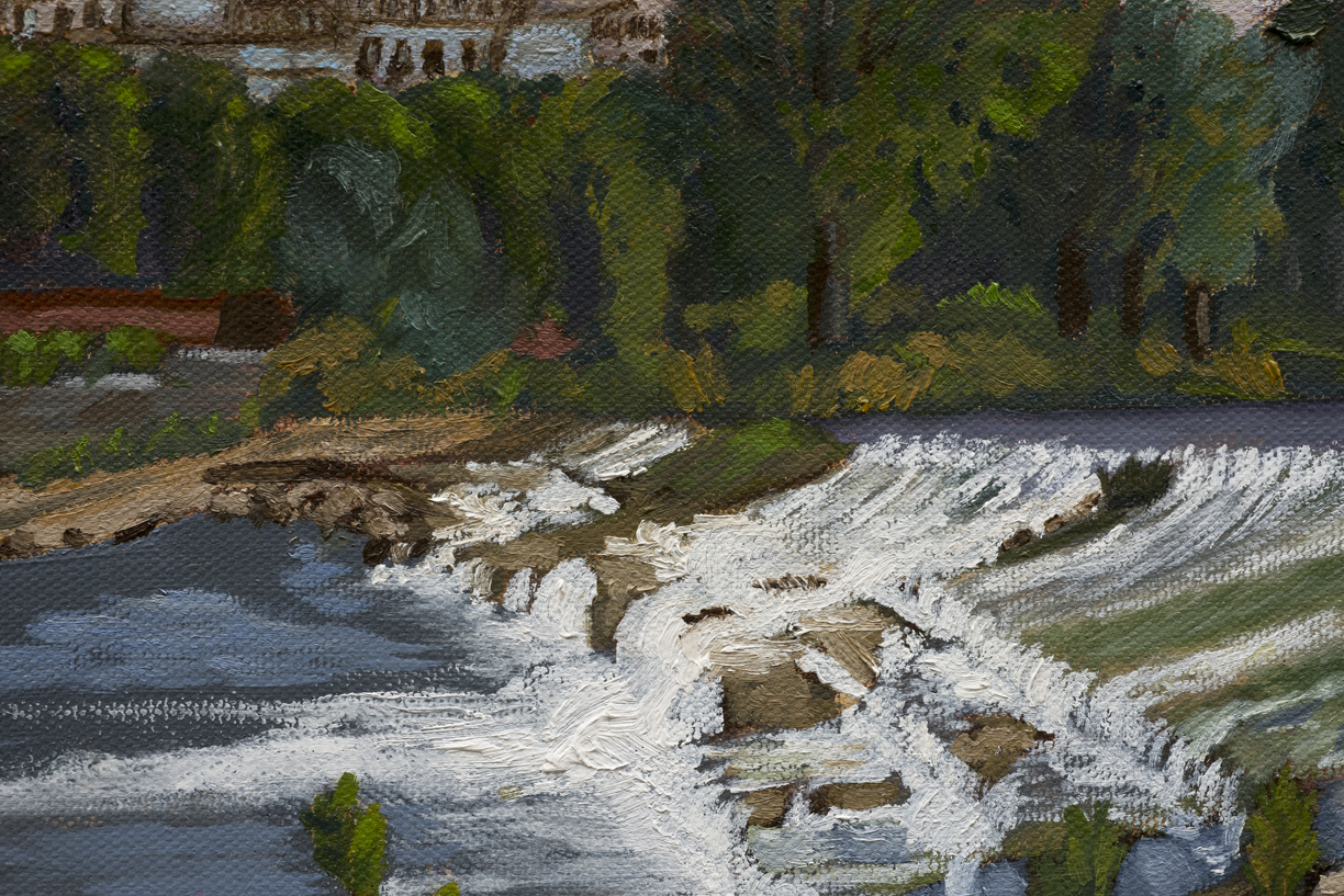 "Falling Water, Arno River, Florence, Italy - Detail - Oil on Canvas - 13.5"" x 10"""