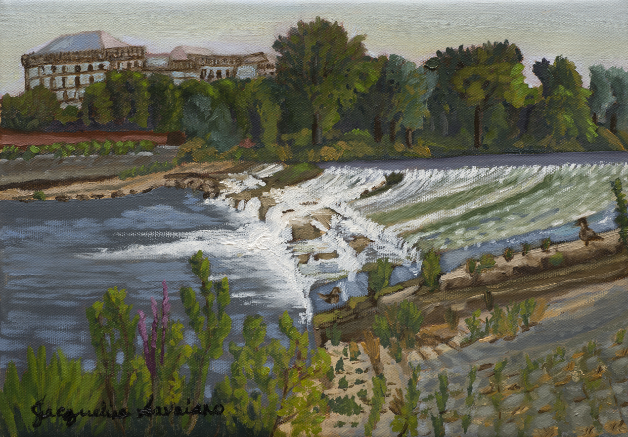 """Falling Water, Arno River, Florence, Italy - Full - Oil on Canvas - 13.5"""" x 10"""""""