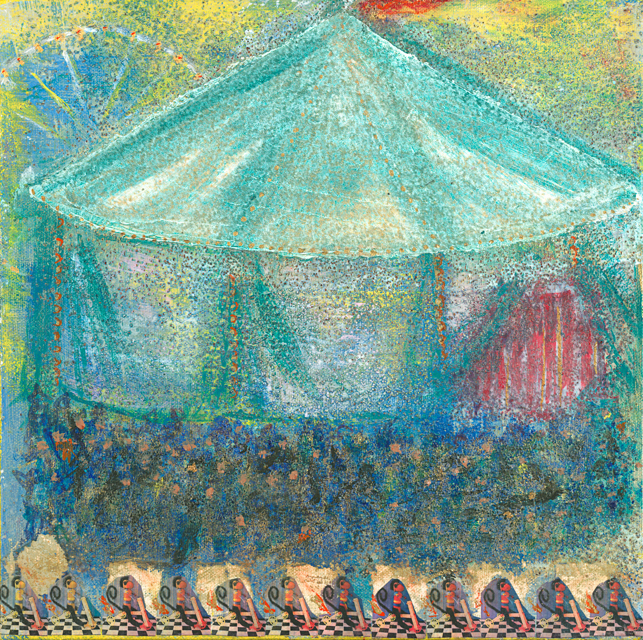 Los Monitos Always Rush to be First in Line at the Carrousel - (2012) - 12in x 12in - Mixed Media on Canvas