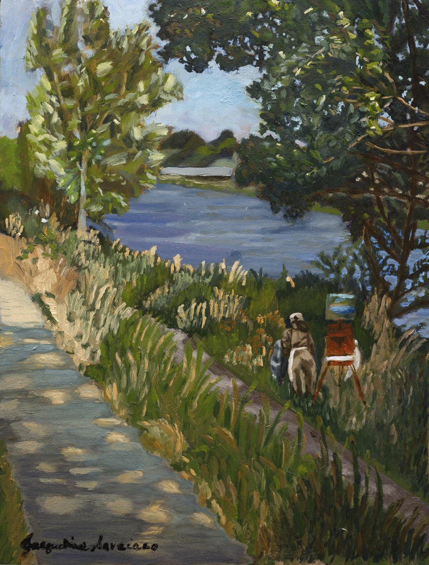 """Painting the Arno River, Florence, Italy - Full - Oil on Board - 11.75"""" x 15.75"""""""