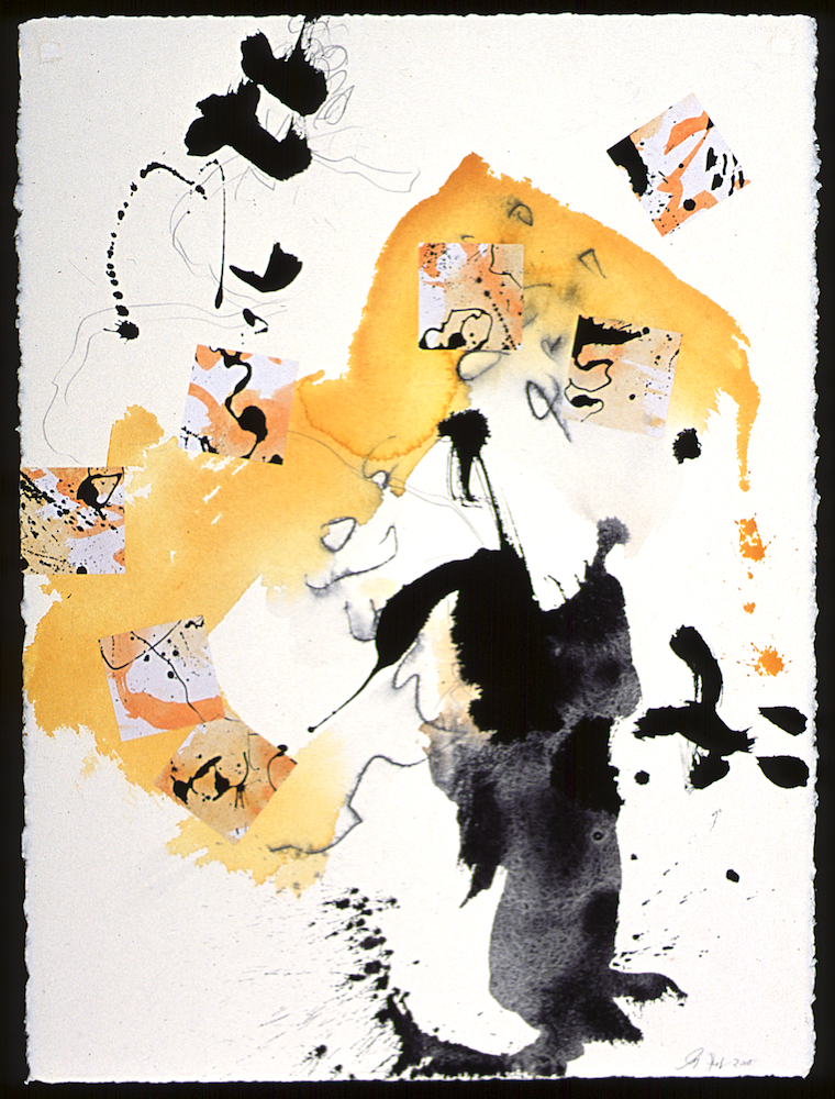 Poem to the Moon 06 - Water Color Ink Collage on Paper - 30x22