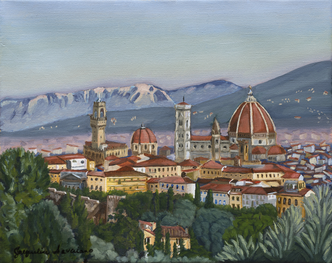 "Renaissance Romance, Florence, Italy - Oil on Canvas - 19.5"" x 15.75"""