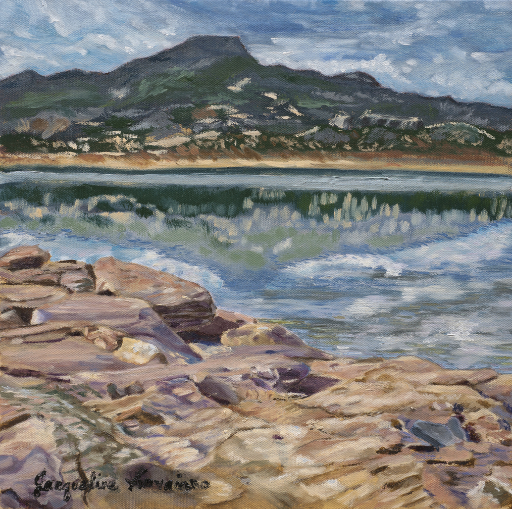 "Morning Reflections, Abiquiú Lake, New Mexico - Oil on canvas - 14"" X 14"""